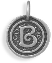 "Oxidized Initial ""B"" Pendant 925 Sterling Silver"