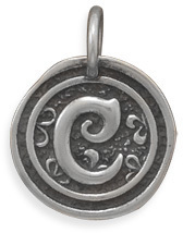"Oxidized Initial ""C"" Pendant 925 Sterling Silver"