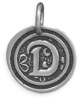 "Oxidized Initial ""D"" Pendant 925 Sterling Silver"