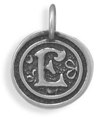 "Oxidized Initial ""E"" Pendant 925 Sterling Silver"