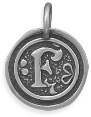 "Oxidized Initial ""F"" Pendant 925 Sterling Silver"