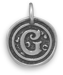 "Oxidized Initial ""G"" Pendant 925 Sterling Silver"
