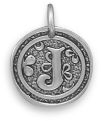 "Oxidized Initial ""J"" Pendant 925 Sterling Silver"