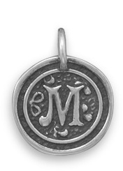 "Oxidized Initial ""M"" Pendant 925 Sterling Silver"