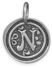 "Oxidized Initial ""N"" Pendant 925 Sterling Silver"