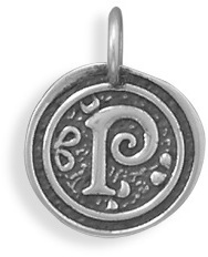 "Oxidized Initial ""P"" Pendant 925 Sterling Silver"