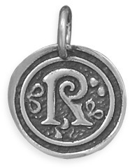 "Oxidized Initial ""R"" Pendant 925 Sterling Silver"