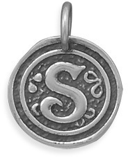 "Oxidized Initial ""S"" Pendant 925 Sterling Silver"