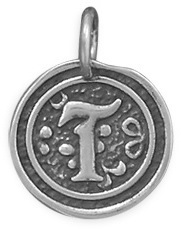 "Oxidized Initial ""T"" Pendant 925 Sterling Silver"
