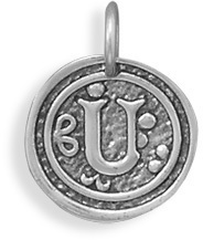 "Oxidized Initial ""U"" Pendant 925 Sterling Silver"
