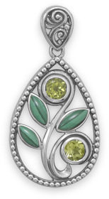 Malachite and Peridot Pendant 925 Sterling Silver