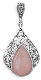 Pink Opal Pendant 925 Sterling Silver