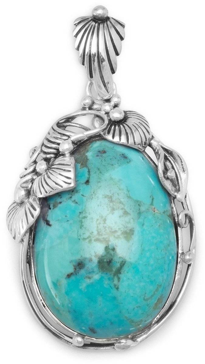 Oval Turquoise Pendant 925 Sterling Silver