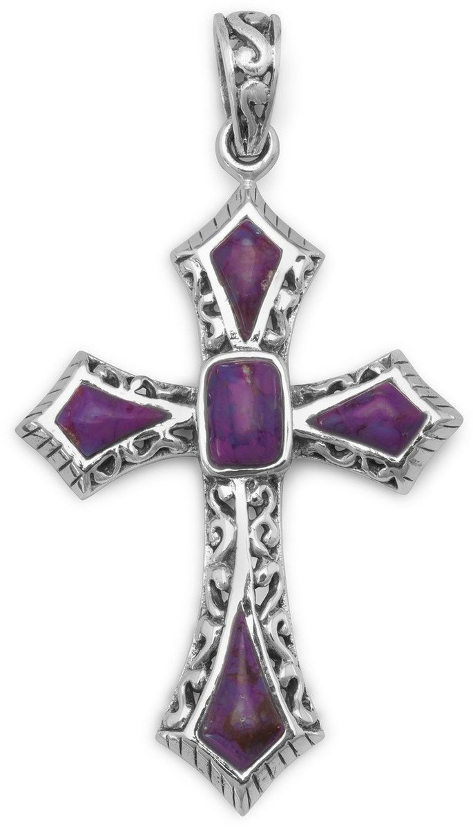 Dyed Purple Turquoise Cross Pendant 925 Sterling Silver
