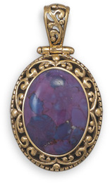 Bronze and Dyed Purple Turquoise Pendant