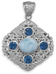 Ornate Larimar and Blue Topaz Pendant 925 Sterling Silver