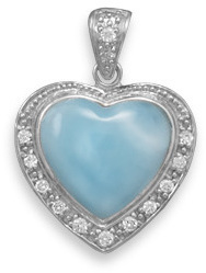 Larimar Heart Pendant 925 Sterling Silver