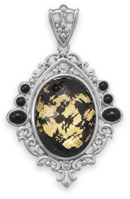 Black Onyx, Gold Leaf and Quartz Pendant 925 Sterling Silver