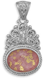 Rhodonite, Gold Leaf and Quartz Pendant 925 Sterling Silver