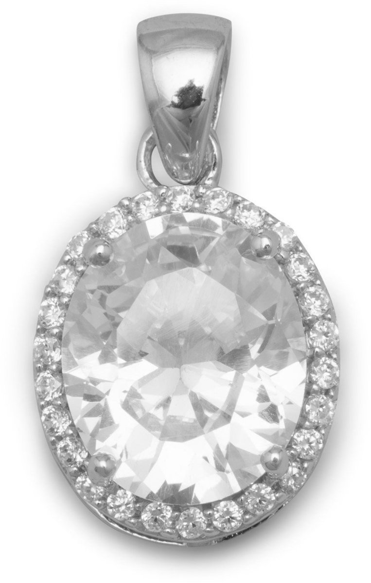 Rhodium Plated Oval CZ Pendant 925 Sterling Silver