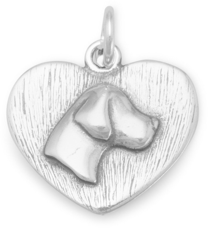 Oxidized Dog Silhouette Charm 925 Sterling Silver