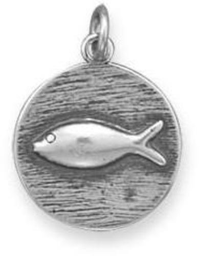 Oxidized Charm with Fish Design 925 Sterling Silver