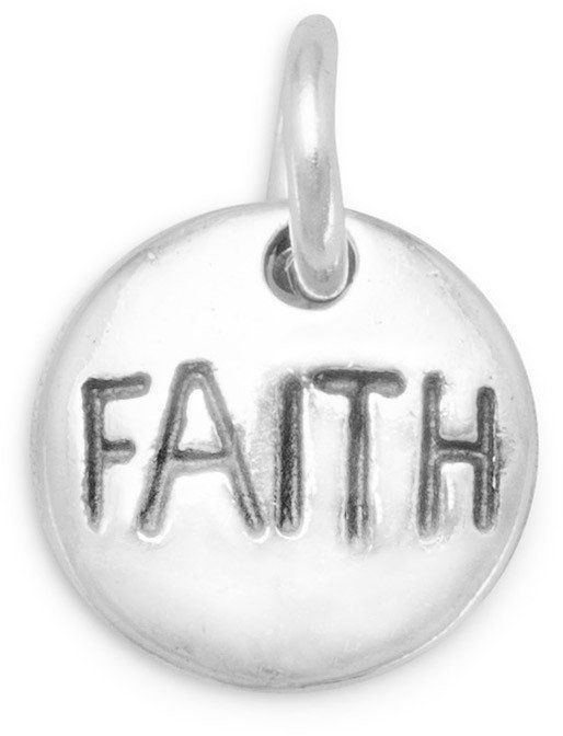 "Oxidized ""Faith"" Charm 925 Sterling Silver"
