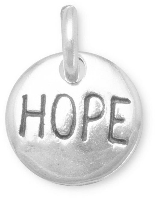 "Oxidized ""Hope"" Charm 925 Sterling Silver"
