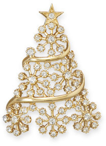 14 Karat Gold Plated Crystal Christmas Tree Slide 925 Sterling Silver
