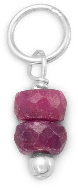 Ruby Rondell Charm - July Birthstone 925 Sterling Silver