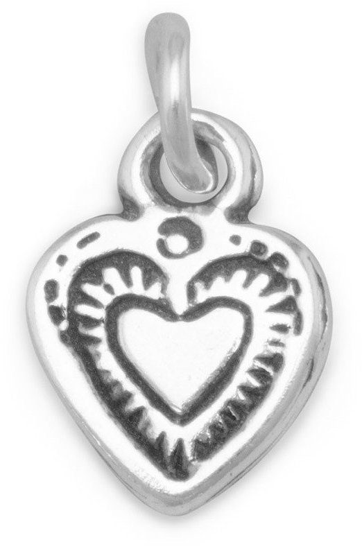 Oxidized Heart Charm 925 Sterling Silver