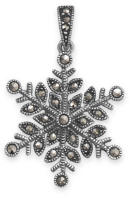 Marcasite Snowflake Pendant 925 Sterling Silver