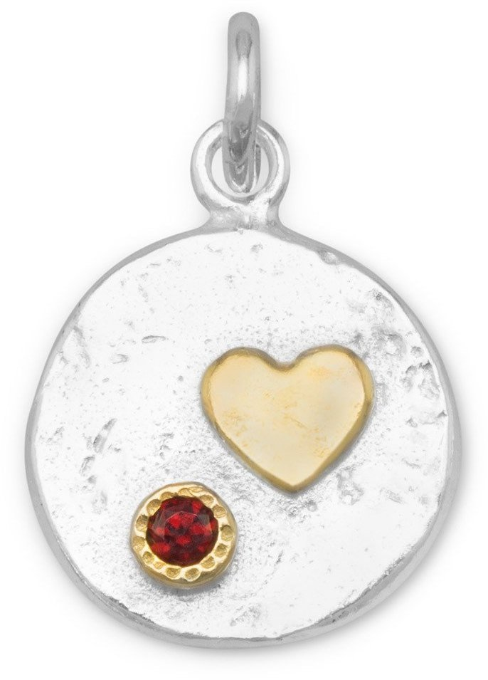 Two Tone Pendant with Heart and Red CZ 925 Sterling Silver