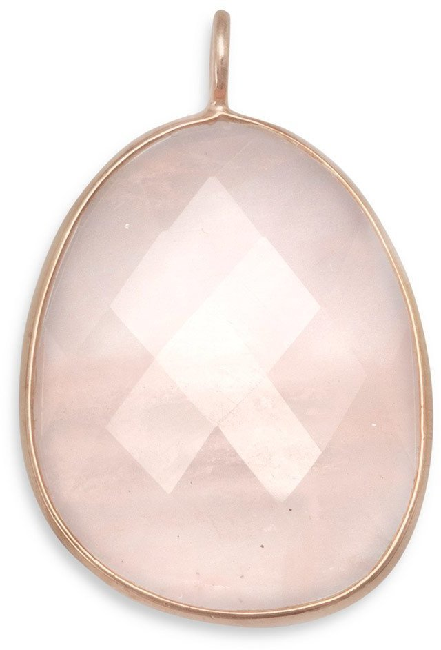 14 Karat Gold Plated Rose Quartz Pendant 925 Sterling Silver