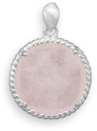 Faceted Rose Quartz Pendant 925 Sterling Silver - DISCONTINUED