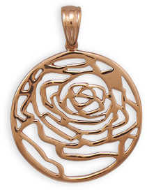 14 Karat Rose Gold Plated Cut Out Rose Pendant 925 Sterling Silver