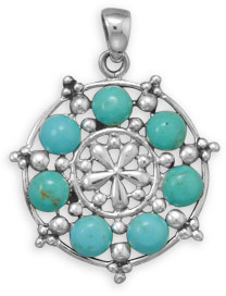 Rhodium Plated Imitation Turquoise Pendant 925 Sterling Silver