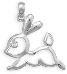 Cut Out Bunny Pendant 925 Sterling Silver