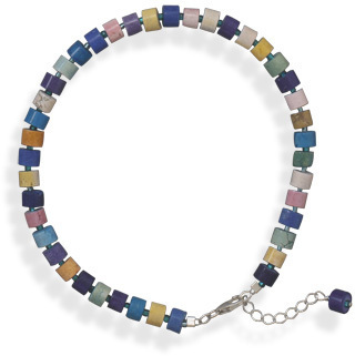"9""+1"" Multicolor Magnesite Bead Anklet 925 Sterling Silver"