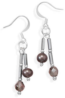 Silver Plated Glass and Cultured Freshwater Pearl Drop French Wire Fashion Earrings - DISCONTINUED