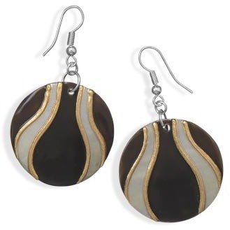 Painted Kabuki Shell Fashion Earrings - DISCONTINUED