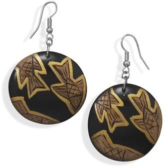 Wood with Fish Design Fashion Earrings