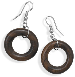 Wood Ring Fashion Earrings