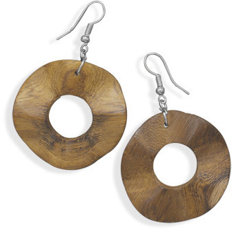 Wavy Wood Fashion Earrings