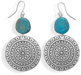 Flower Drop Design Fashion Earrings with Imitation Turquoise - DISCONTINUED