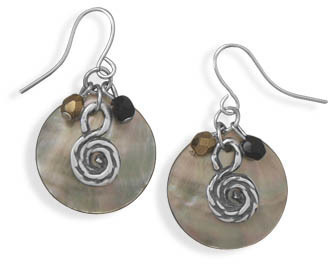 Shell and Czech Glass Drop Fashion Earrings - DISCONTINUED