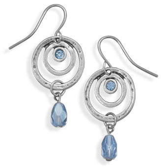Oxidized Open Circle Blue Crystal Fashion Earrings - DISCONTINUED