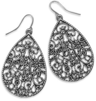 Oxidized Filigree Fashion Earrings - DISCONTINUED