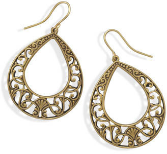 Oxidized Gold Tone Filigree Fashion Earrings - DISCONTINUED