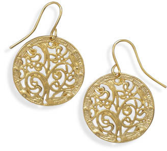 Gold Tone Filigree Fashion Earrings - DISCONTINUED